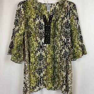Catherines 3/4 sleeve accordion pleat blouse
